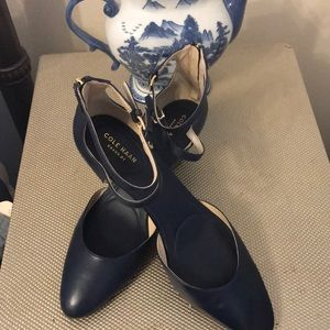 Cole Haan Blue Leather Double Strap Wedges